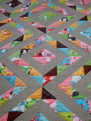 half square quilted